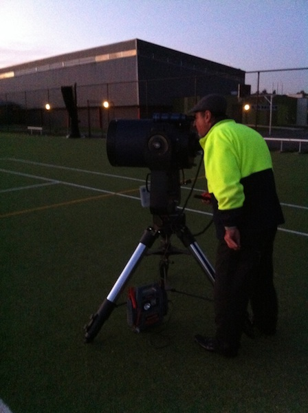 Teacher John Trajanovski aligning the telescope at Suzanne Cory HS on their first night for the year.